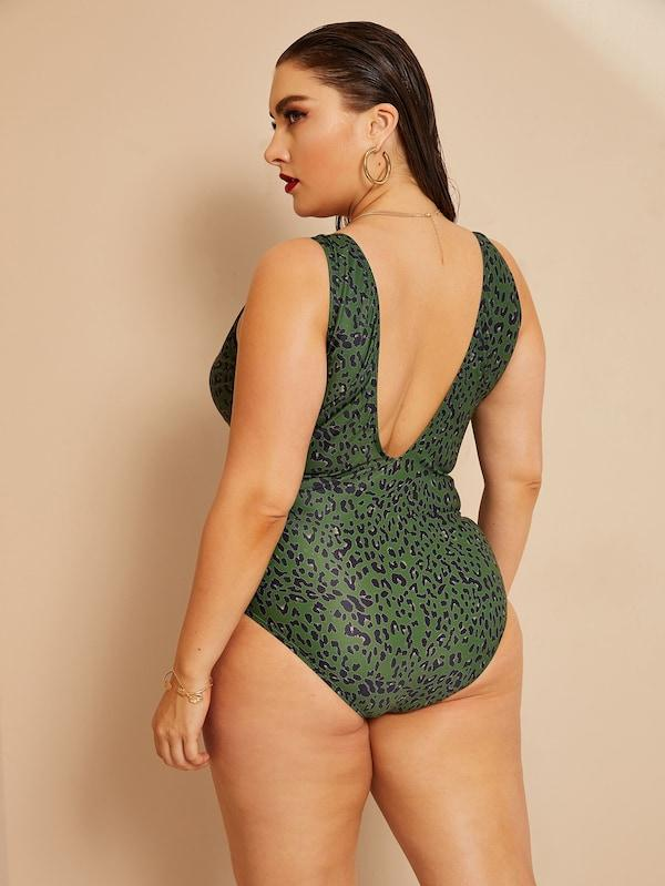 Plus Size Leopard Plunge One Piece Swimwear