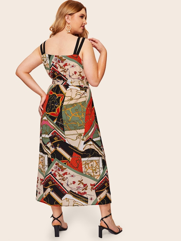 Plus Size Scarf Print Split Side Cami Dress