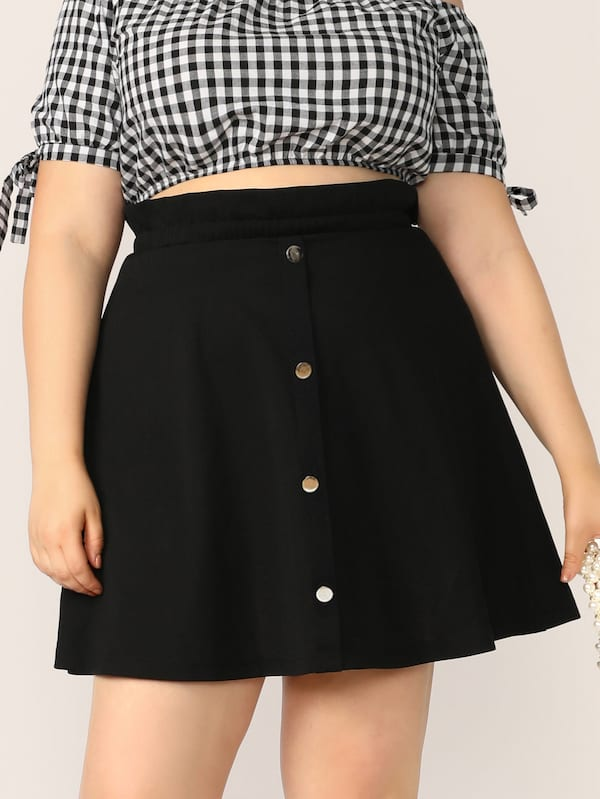 Plus Size Paperbag Waist Button Up Skirt