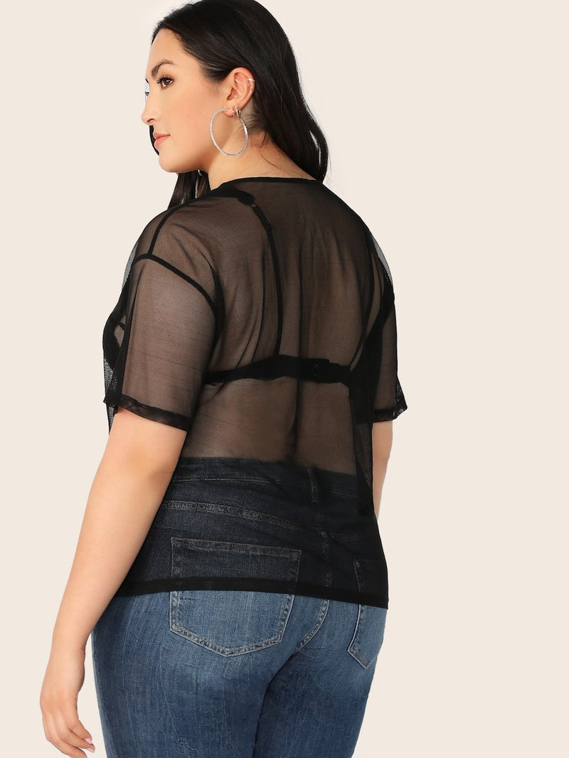 Plus Size Solid Sheer Mesh Top Without Bra