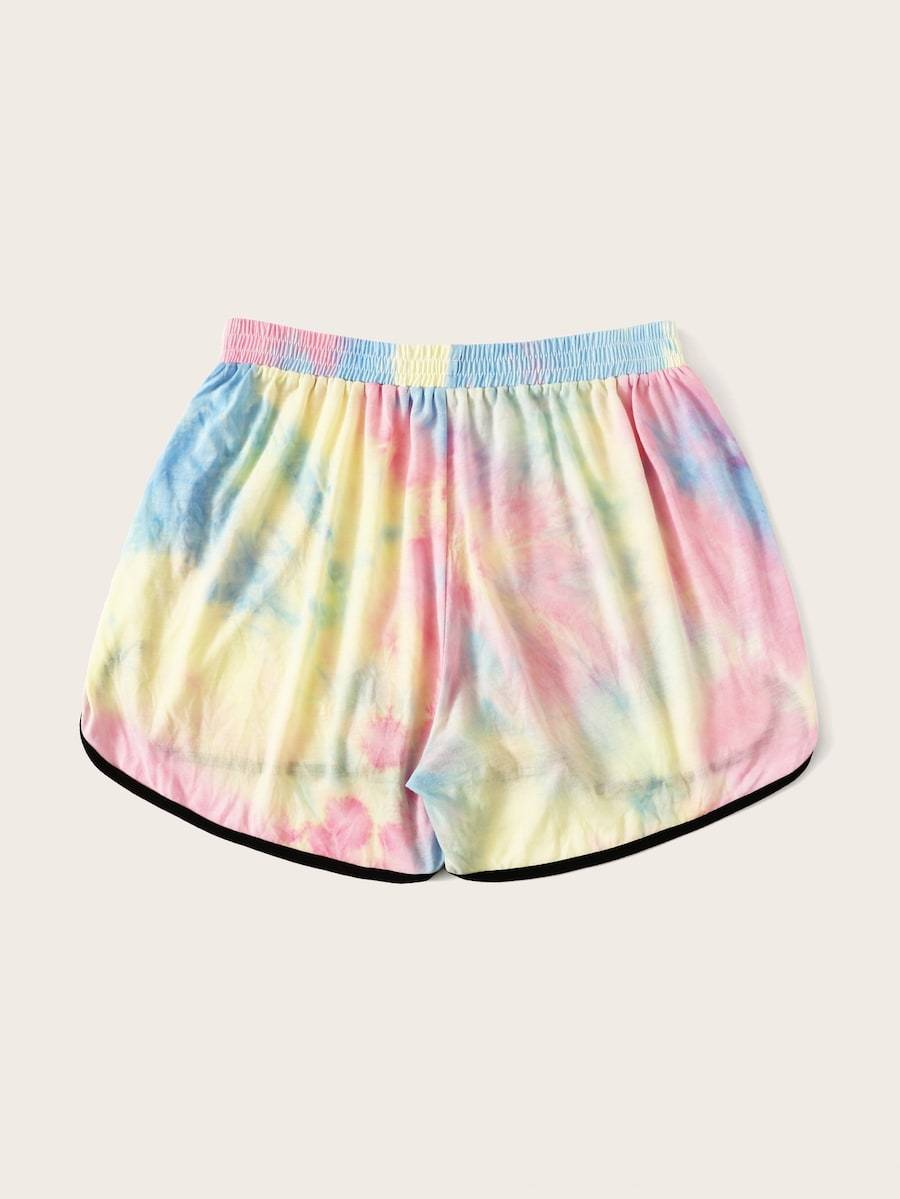 Plus Size Contrast Piping Tie Dye Dolphin Shorts