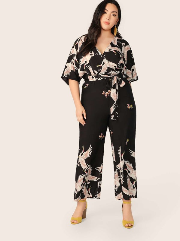Plus Size Red-Crowned Crane Print Wrap Belted Jumpsuit