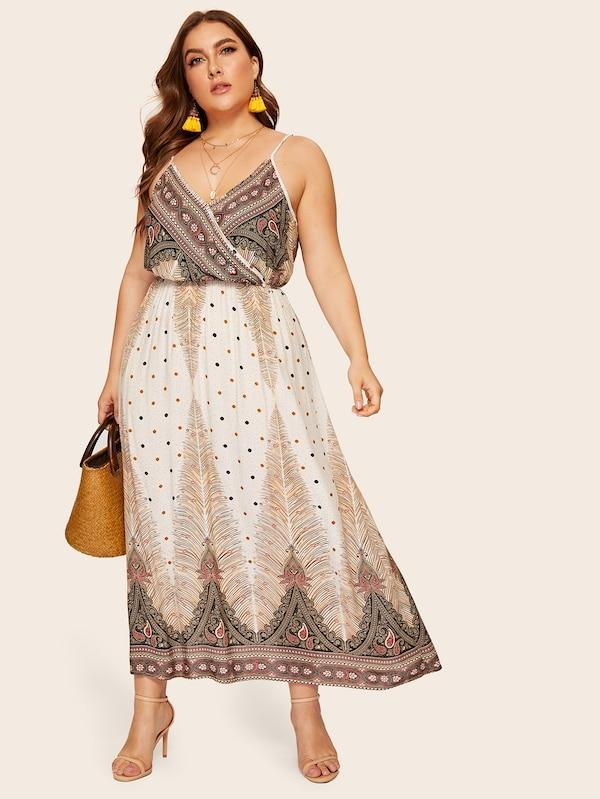 Plus Size Aztec Print Surplice Front Cami Dress