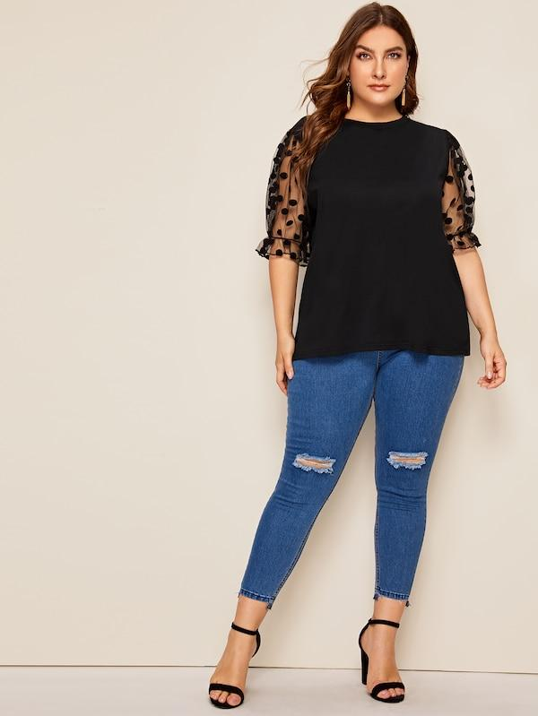 Plus Size Swiss Dot Mesh Sleeve Top