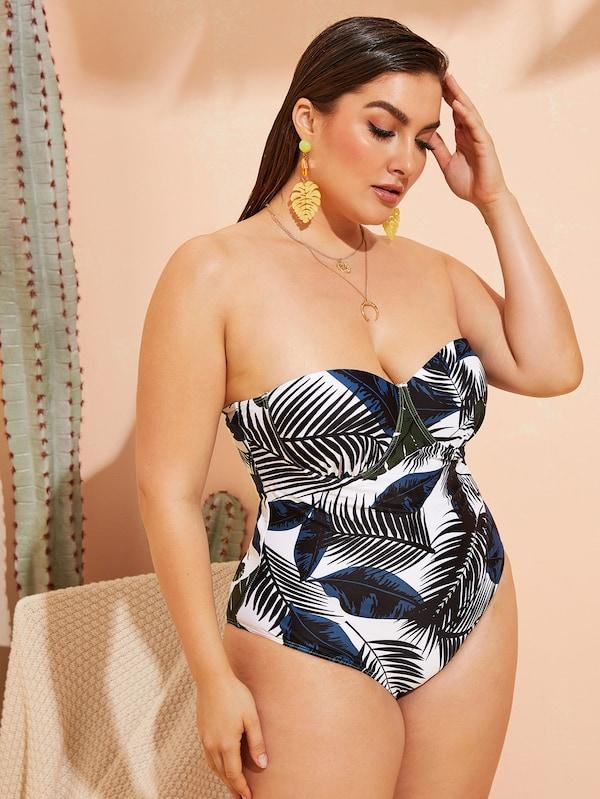 Plus Size Palm Print Bustier One Piece Swimwear