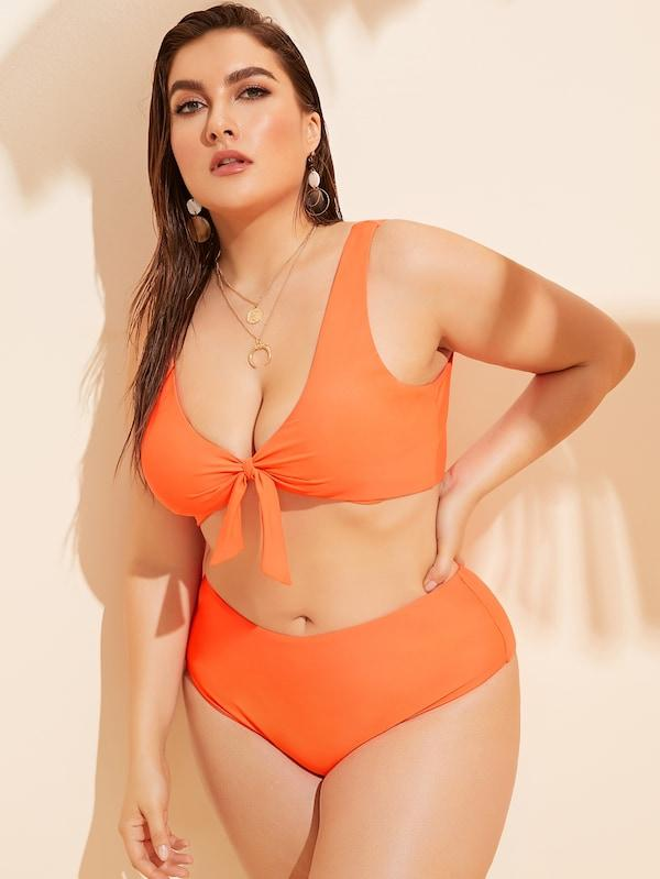 Plus Size Knot Top With High Waist Bikini