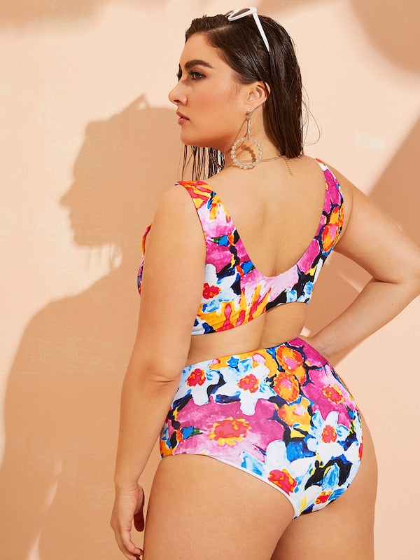 Plus Size Floral Knot Top With High Waist Bikini