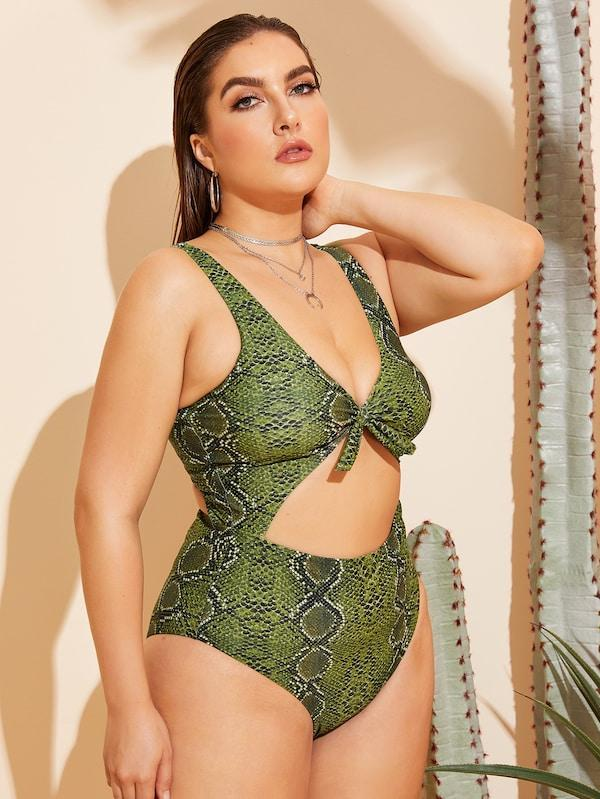 Plus Size Snakeskin Cut-Out One Piece Swimwear