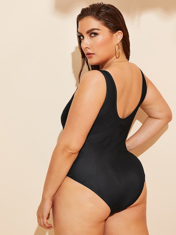 Plus Size Letter Print Low Back One Piece Swimwear