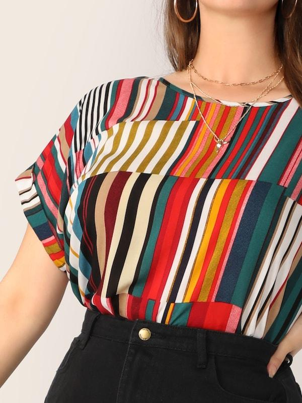Plus Size Colorful Striped Top