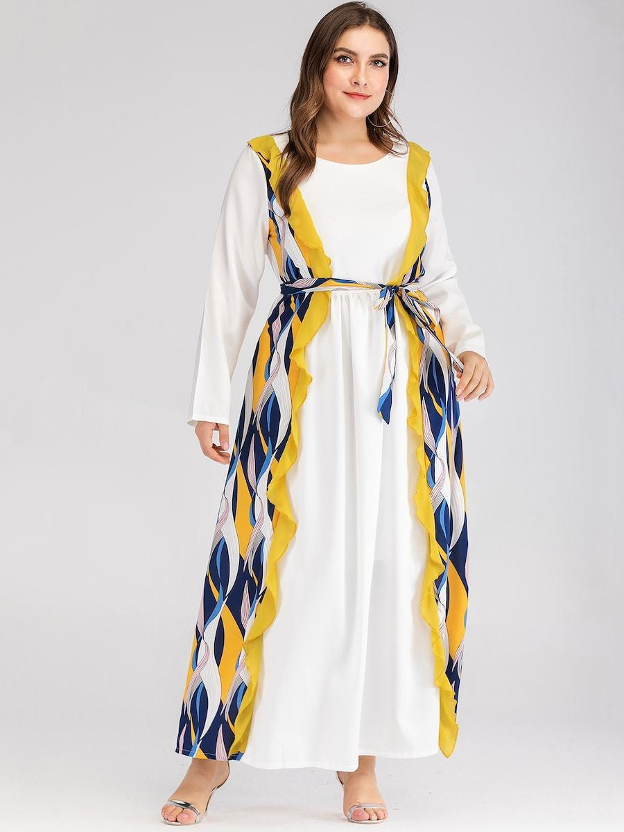 Plus Size Contrast Striped Print Belted Maxi Dress