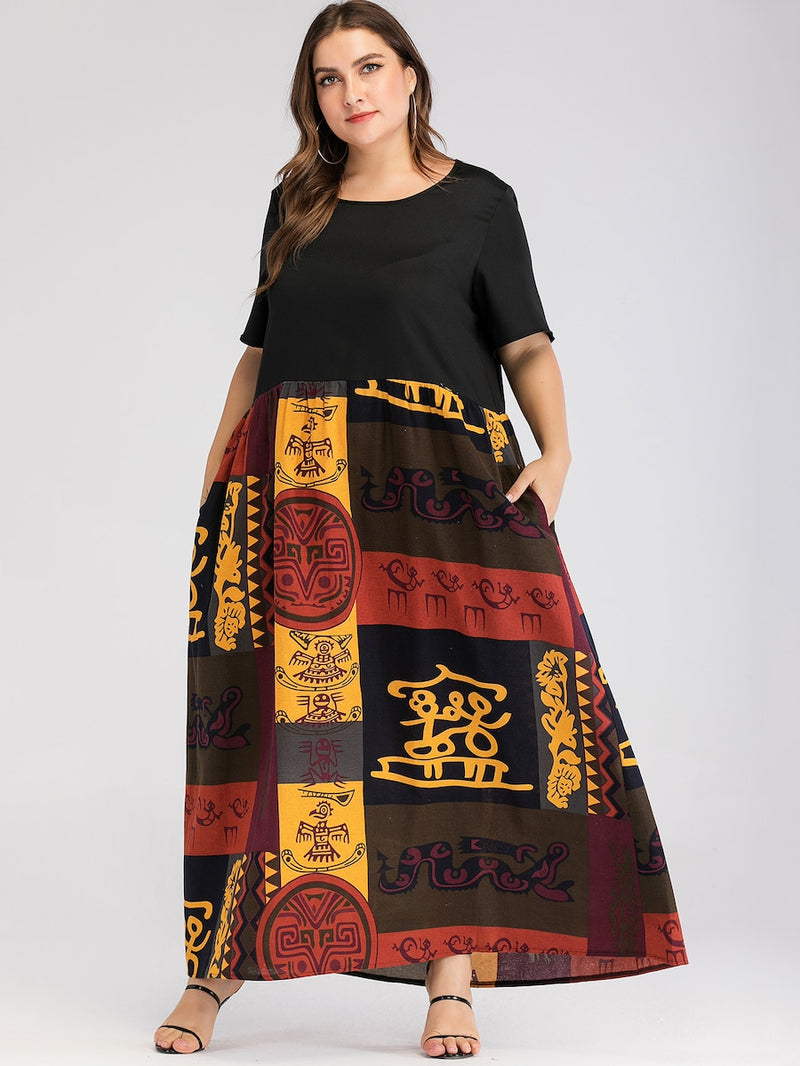 Plus Size Graphic Print Hidden Pocket Maxi Dress