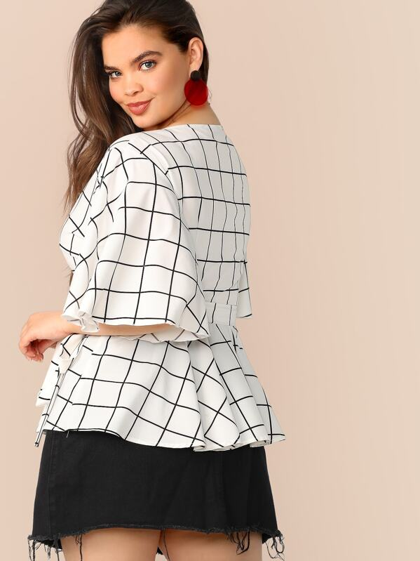 Plus Size Bell Sleeve Grid Wrap Peplum Top