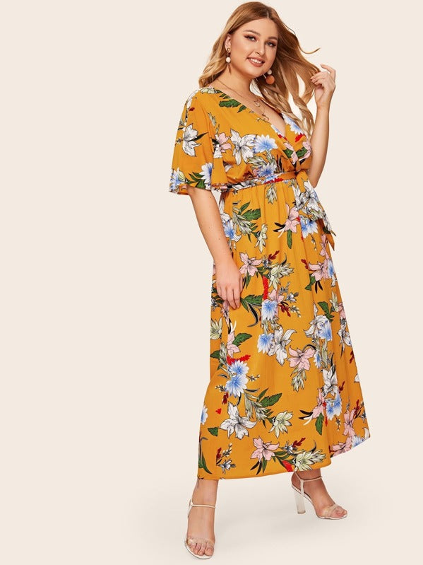 Plus Size Floral Print Surplice Neck Belted Maxi Dress