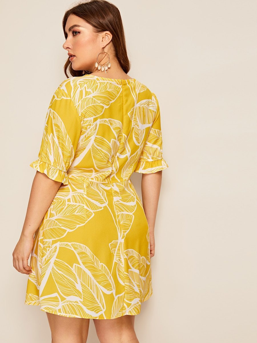 Plus Size Surplice Front Leaf Print Dress