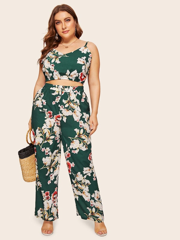 Plus Size Floral Print Cami Top With Pants