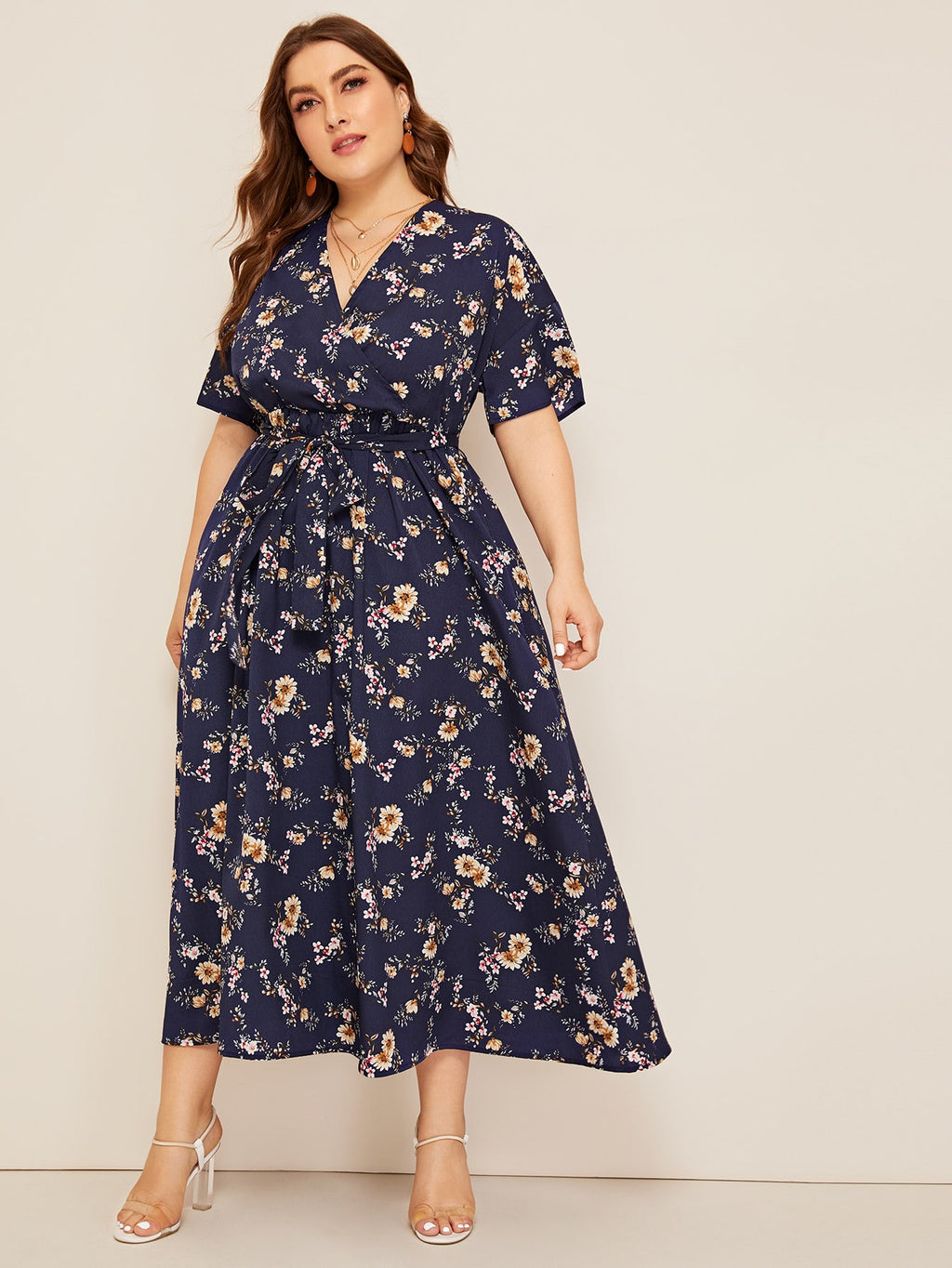 Plus Size Sunday Floral Surplice Self Belted Dress