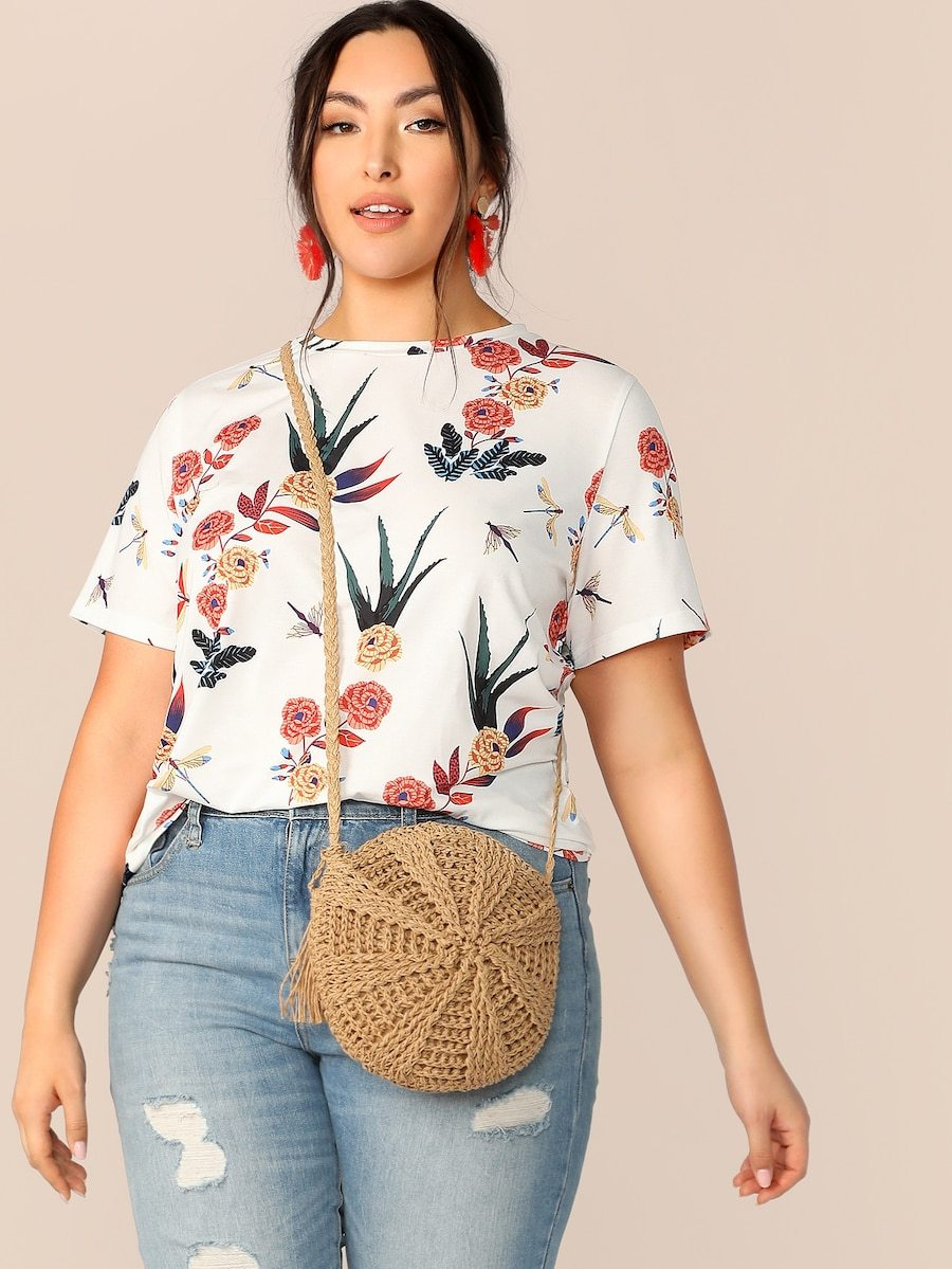 Plus Size Botanical Print Round Neck Top