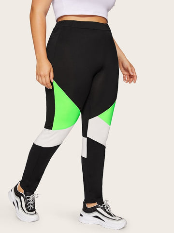 Plus Size Contrast Neon Green Panel Leggings