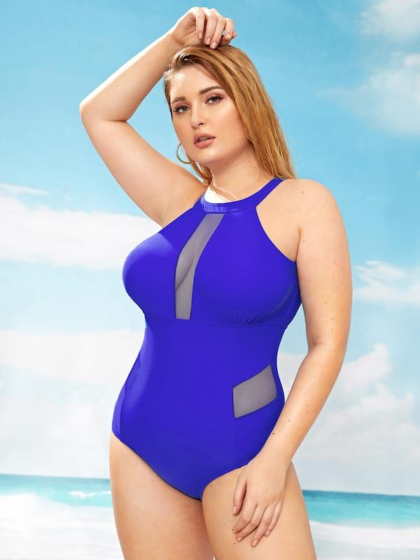 Plus Size Contrast Mesh Cut-Out One Piece Swimwear