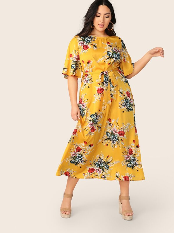 Plus Size Flutter Sleeve Self Belted Floral Dress