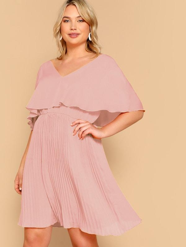 Plus Size Cloak Sleeve Pleated Dress