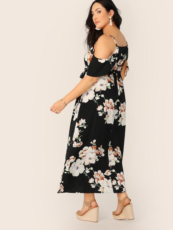 Plus Size Cold Shoulder Botanical Wrap Dress