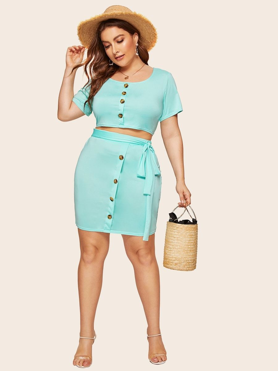 Plus Size Button Front Top With Skirt