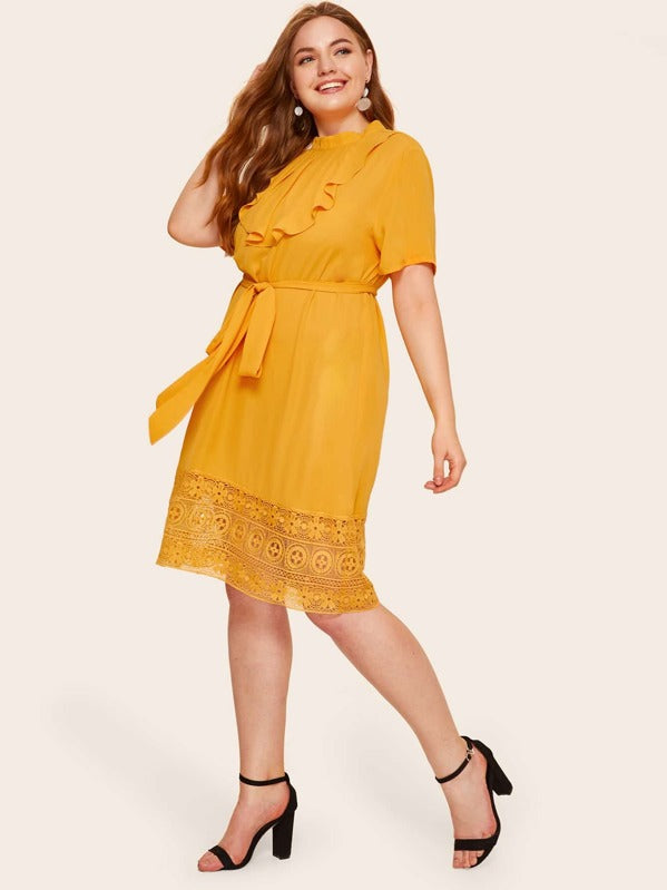 Plus Size Pleated Flounce Neck Lace Hem Dress With Belt