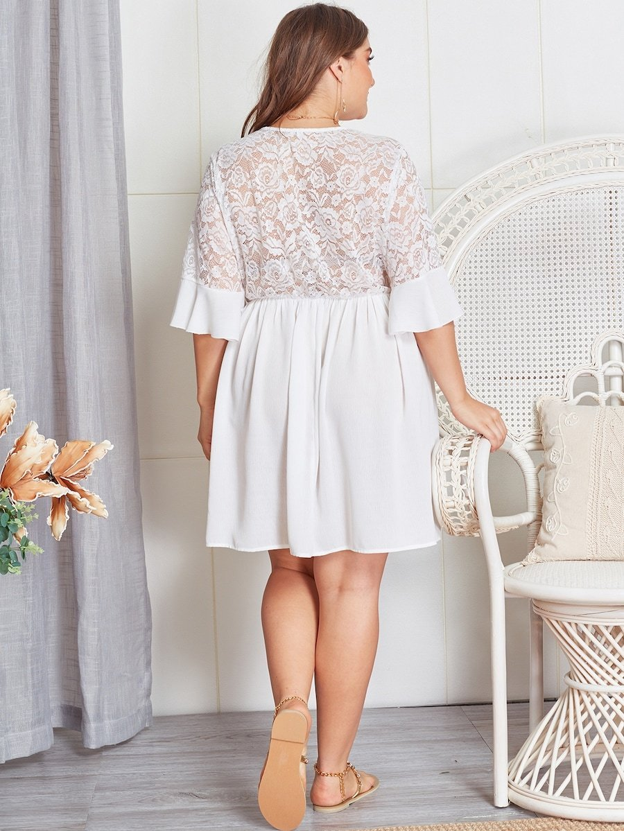 Plus Size Contrast Lace Sheer Dress