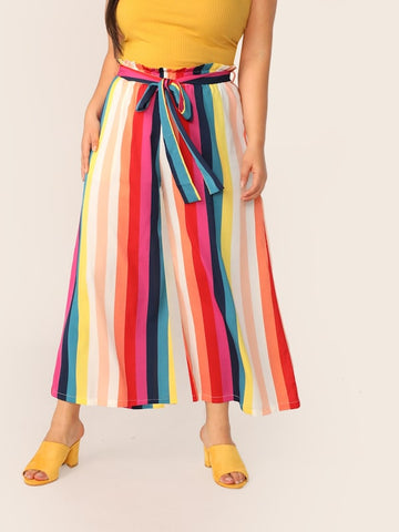 Plus Size Rainbow Stripe Belted Pants