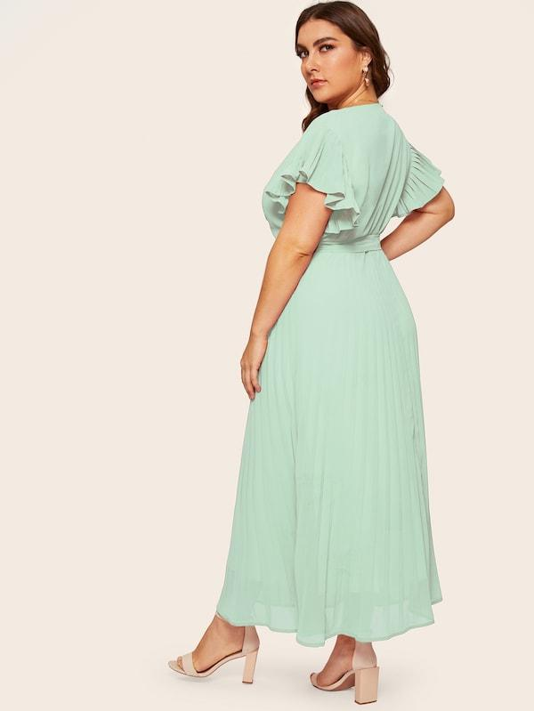 Plus Size Pleated V-Neck Belted Dress