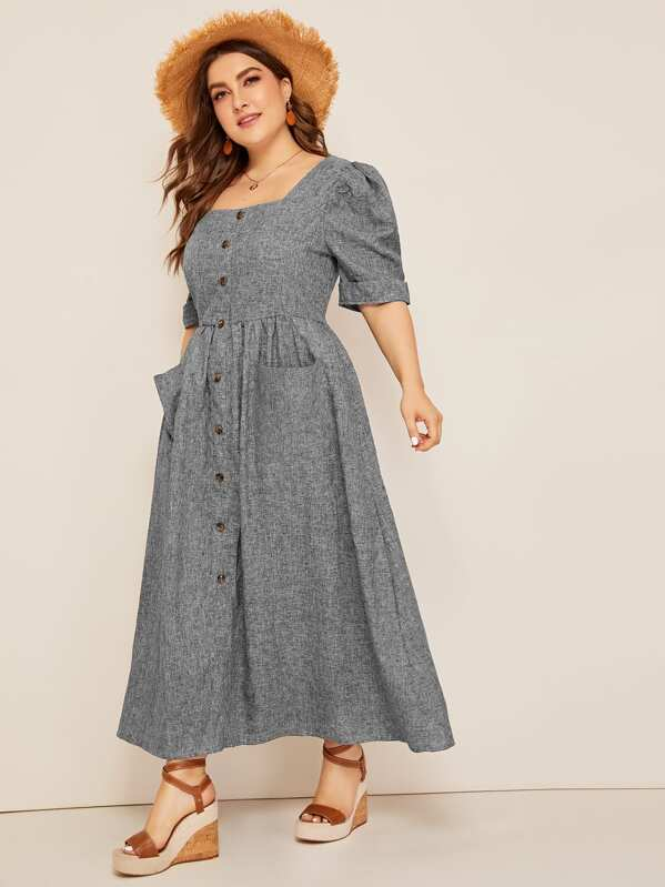 Plus Size Puff Sleeve Patch Pocket Detail Button Up Dress