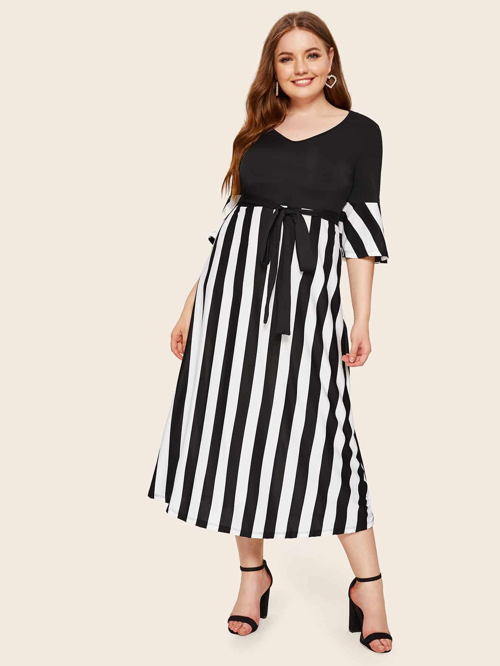 Plus Size Chic V-neck Belted Dress