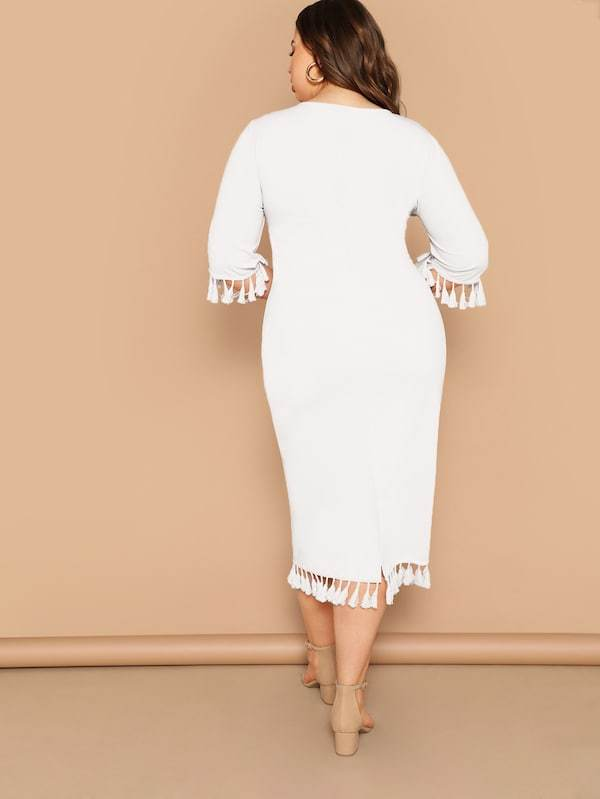 Plus Size Form Fitting Tassel Trim Dress
