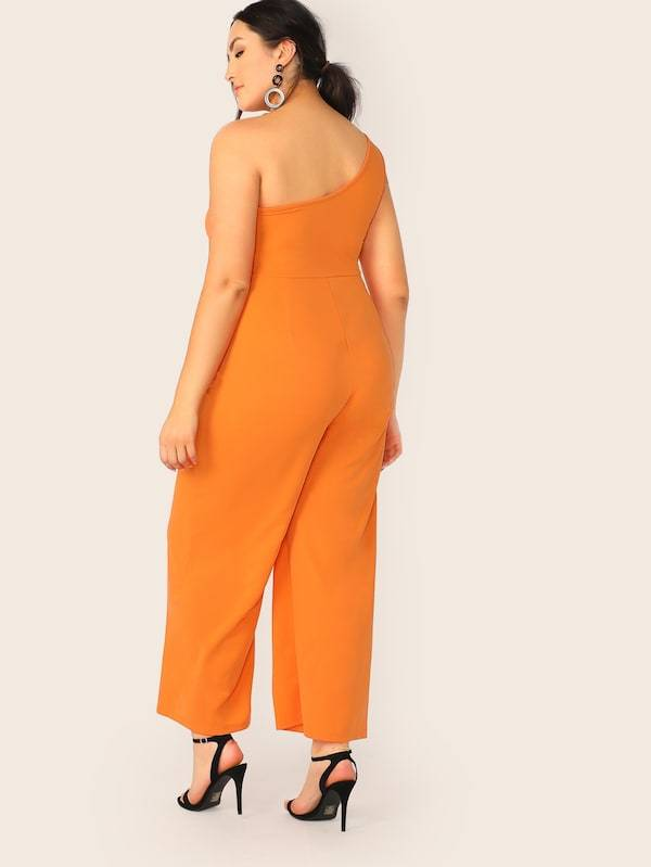 Plus Size Neon Orange One Shoulder Wide Leg Jumpsuit