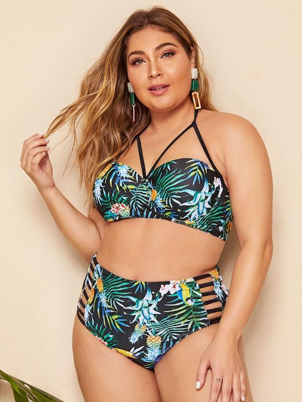 Plus Size Tropical Harness Top With Ladder Cut-Out Bikini