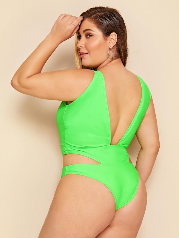 Plus Size Neon Green Cut-Out One Piece Swimwear