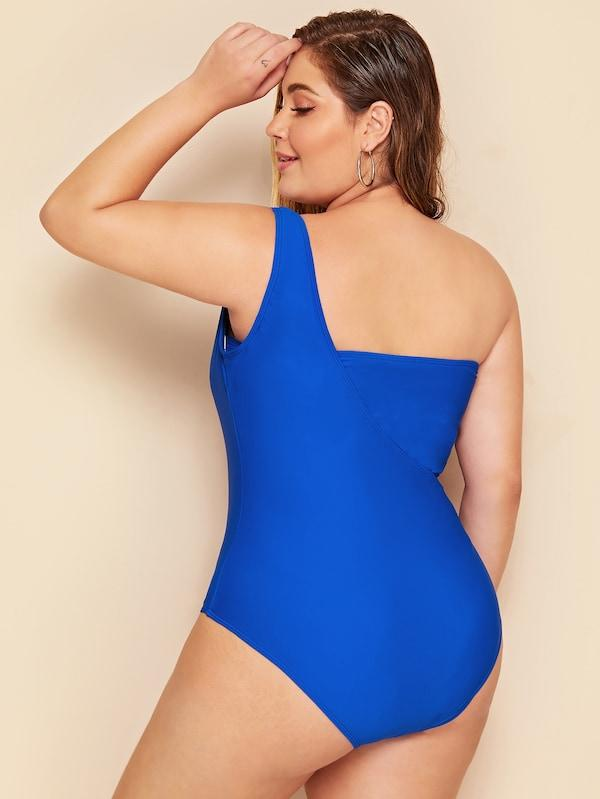 Plus Size Bandeau With One Shoulder Suspender Two Piece Swimwear