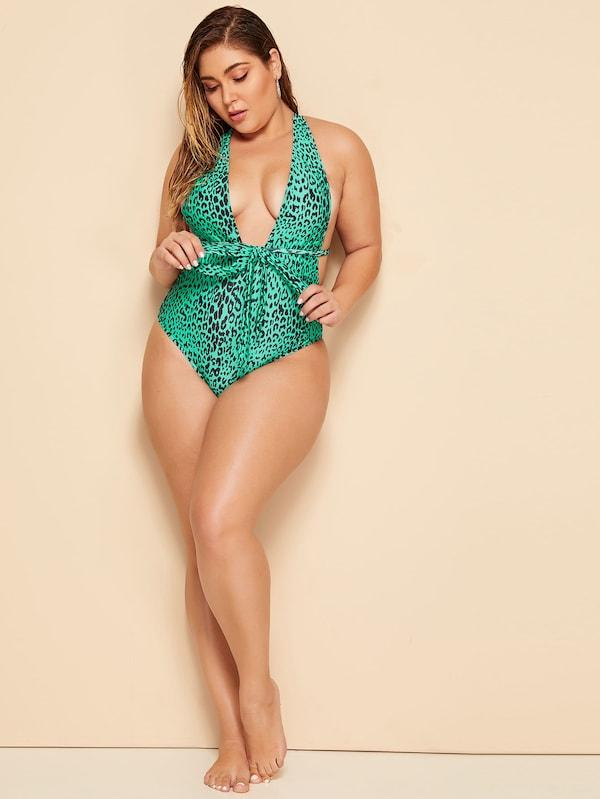 Plus Size Leopard Criss Cross One Piece Swimwear