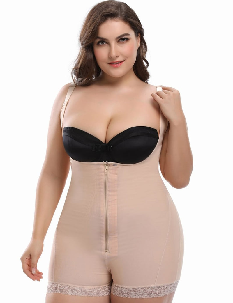 Plus Size Lace Trim Zip Up Shapewear Bodysuit