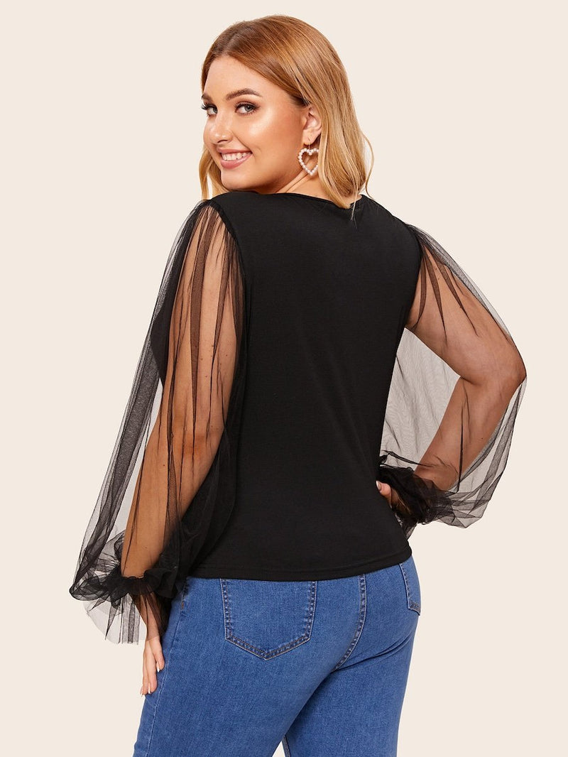 Plus Size Contrast Mesh Sleeve Blouse