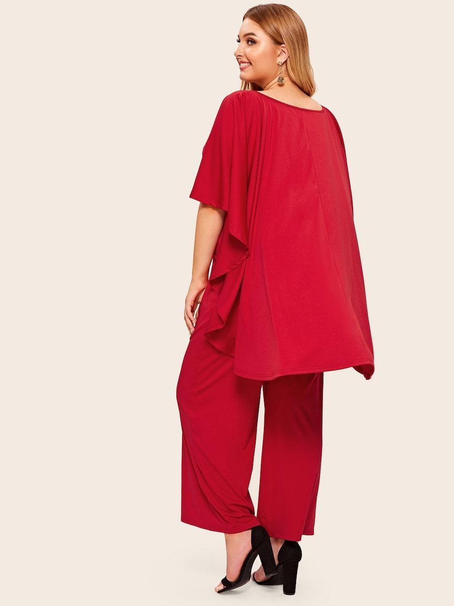 Plus Size Surplice Neck Wide Leg Cape Jumpsuit
