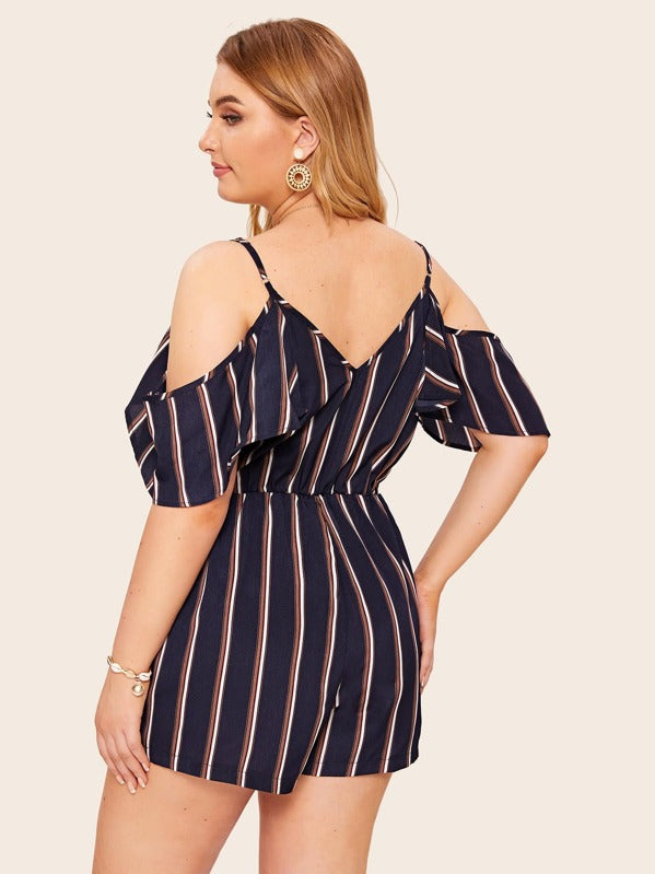 Plus Size Cold Shoulder Stripe Romper