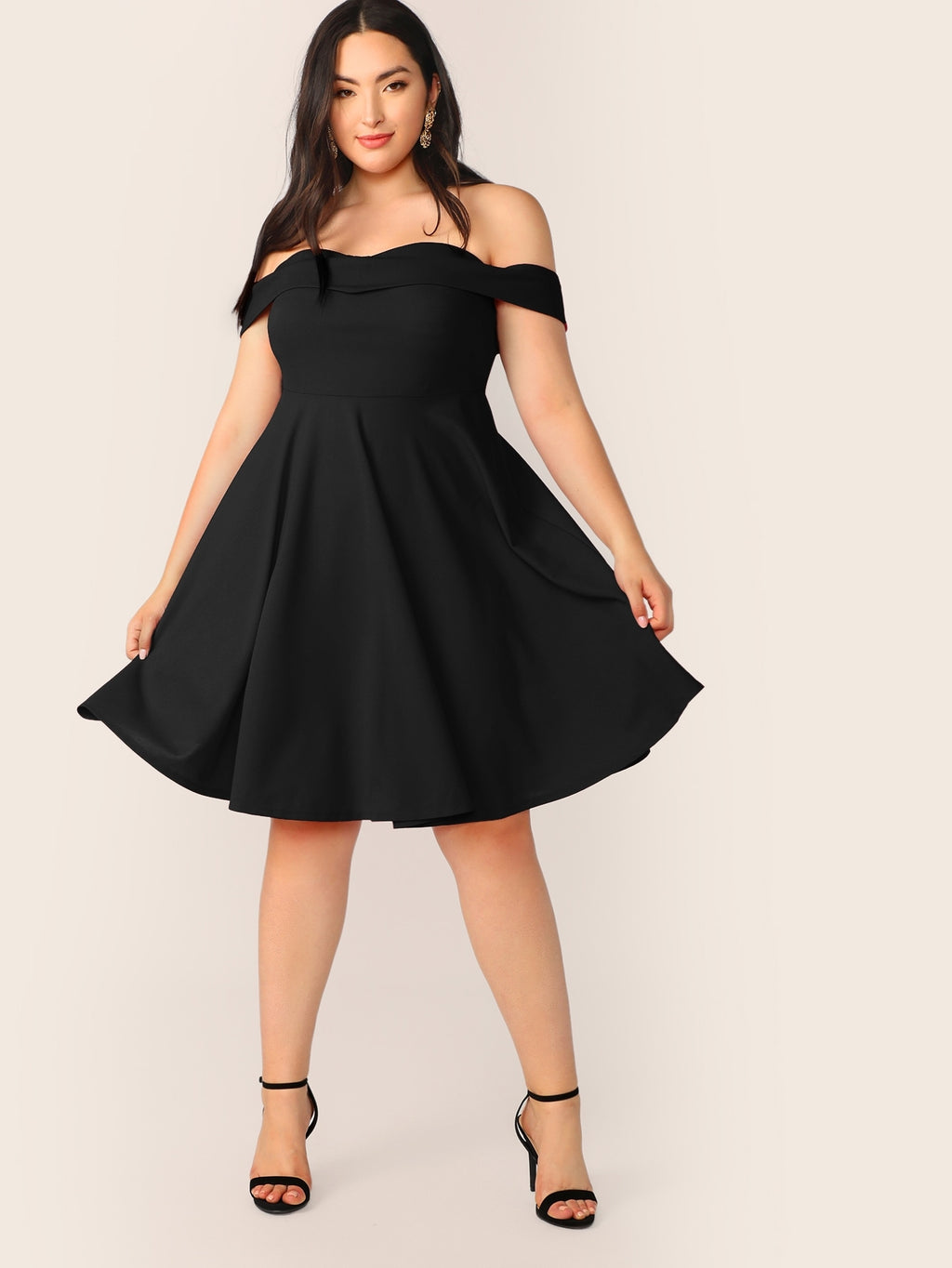 Plus Size Adorable Off Shoulder Skater Dress