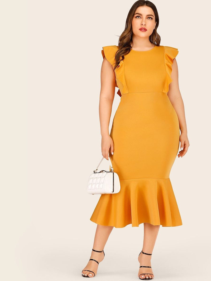 Plus Size Ruffle Hem Sheath Dress