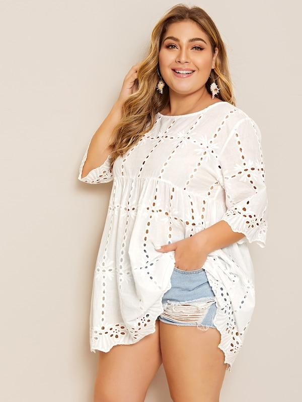 Plus Size Solid Eyelet Embroidery Babydoll Blouse