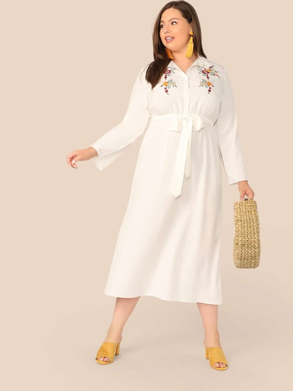 Plus Size Embroidery Print Belted Shirt Dress