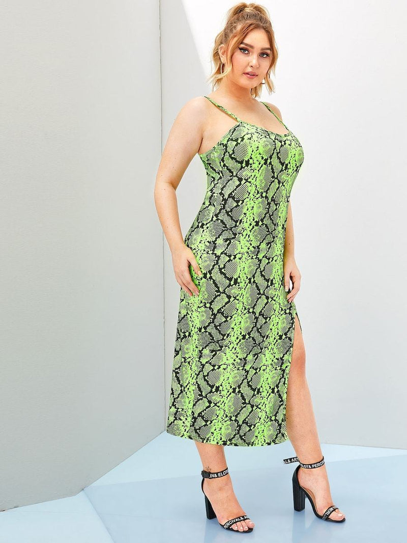 Plus Size Snake Print Split Side Cami Dress