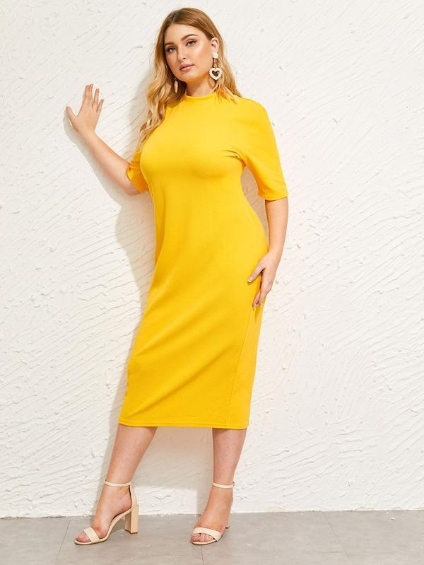 Plus Size Mock-Neck Solid Pencil Dress
